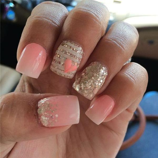 Pink whit heart glitter nail-57