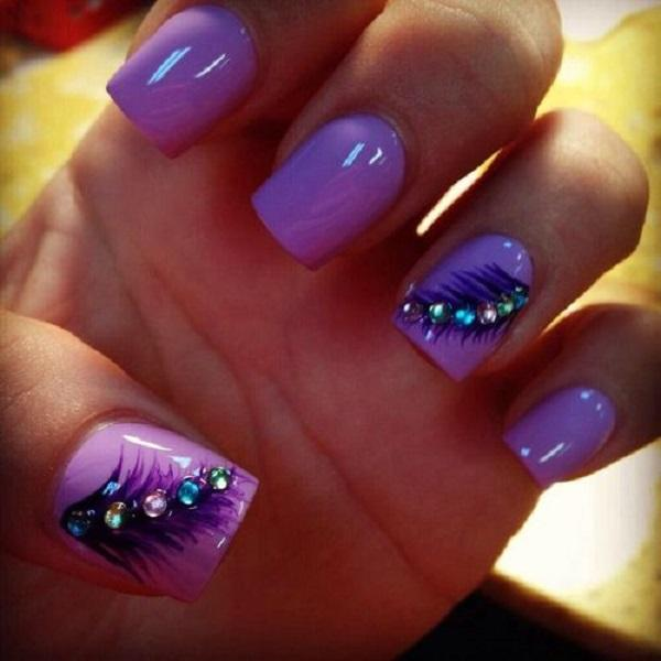 Purple feather nail for fall-33