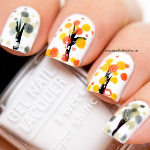 Trees During Autumn 55 Seasonal Fall Nail Art Designs