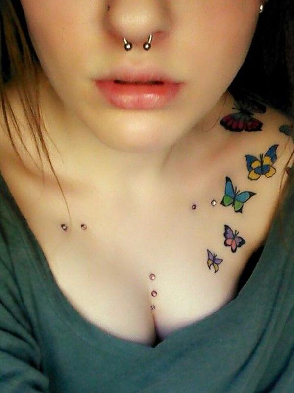 butterfly clavicle tattoo