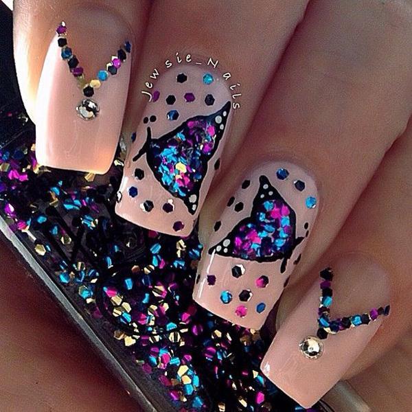 butterfly glitter nail-60