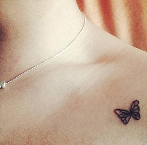 butterfly tattoo on clavicle