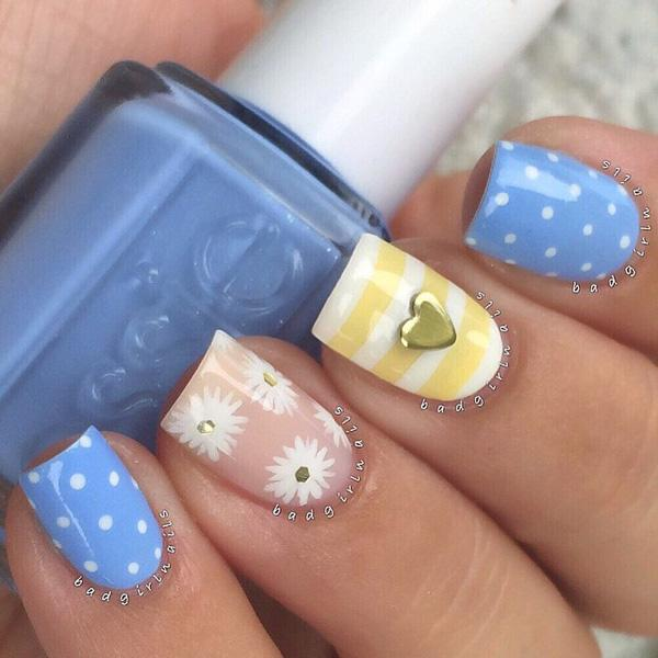 55 seasonal fall nail art designs art and design check out this cute and cuddly nail art design in white baby blue prinsesfo Choice Image