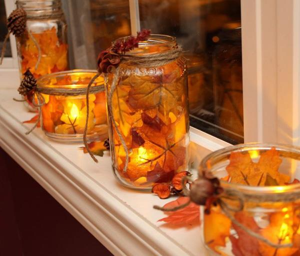 fall mason jar lanterns
