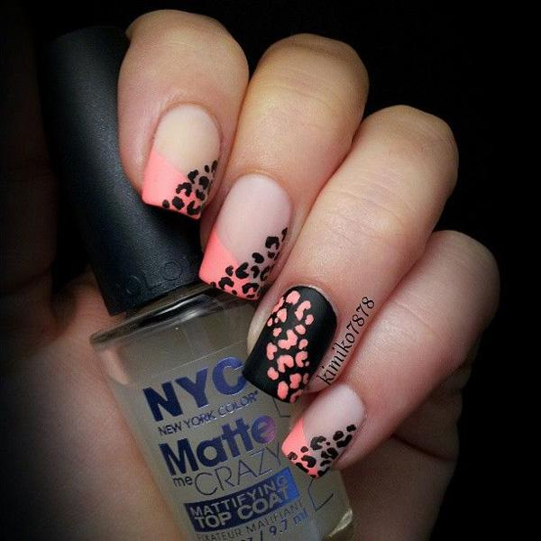 Amazing looking French tip in melon and white polish detailed with leopard prints.
