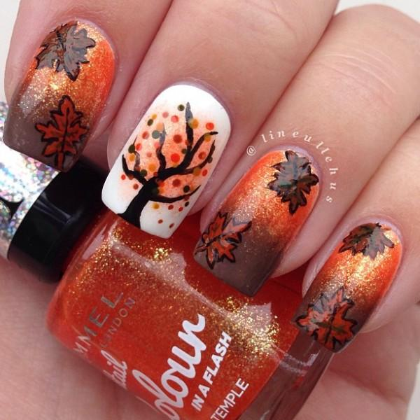 Breathtaking fall themed nail art design in brown, orange, white and black  polish plus ... - 55 Seasonal Fall Nail Art Designs Art And Design