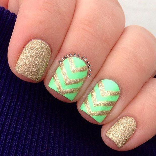 Flaunt your pretty short nails with this neon green and gold dust themed nail art design.