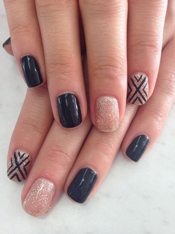 55 seasonal fall nail art designs art and design pretty looking nail art in black matte silver dust with criss cross details in prinsesfo Image collections