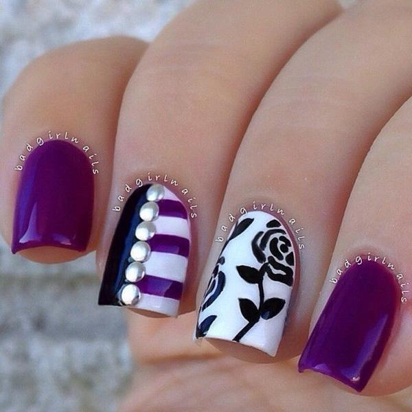 A total violet take over with white and black details plus silver beads added on top.