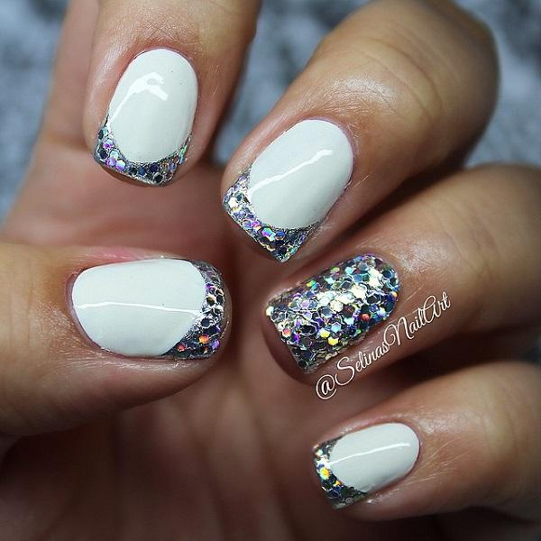 60 glitter nail art designs art and design french tip glitter nail art design in white matte polish and multi colored glitters prinsesfo Images