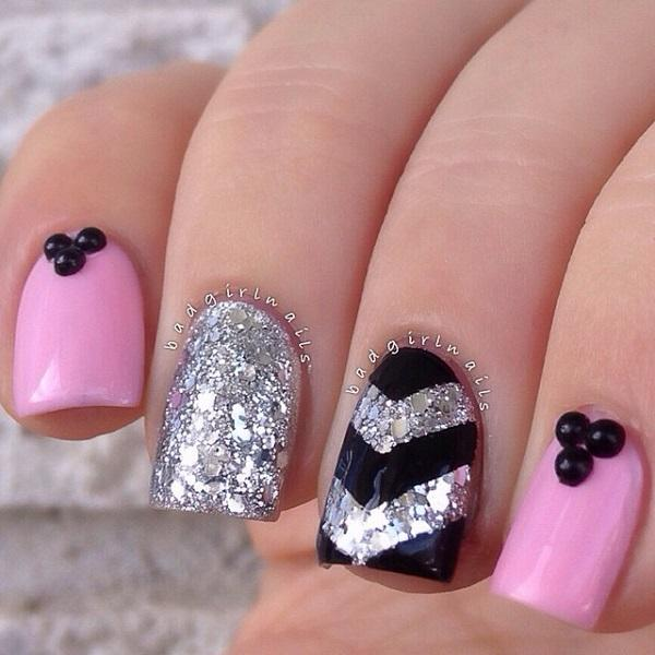 An adorable looking glitter nail art design in silver glitter, pink matte  polish and black ... - 60 Glitter Nail Art Designs Art And Design