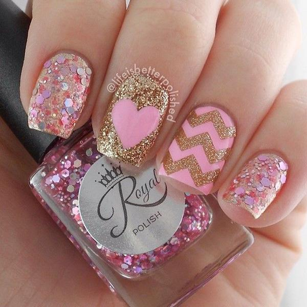 Pretty in pink and gold, glitter nail art design with gold glitter zigzag  details and ... - 60 Glitter Nail Art Designs Art And Design