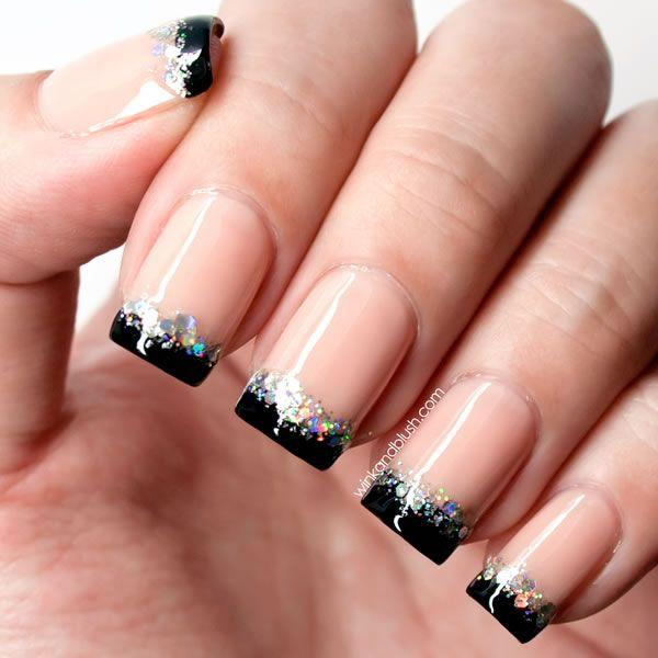 Awesome Looking French Tip Glitter Nail Art Design In Black Polish And Silver As
