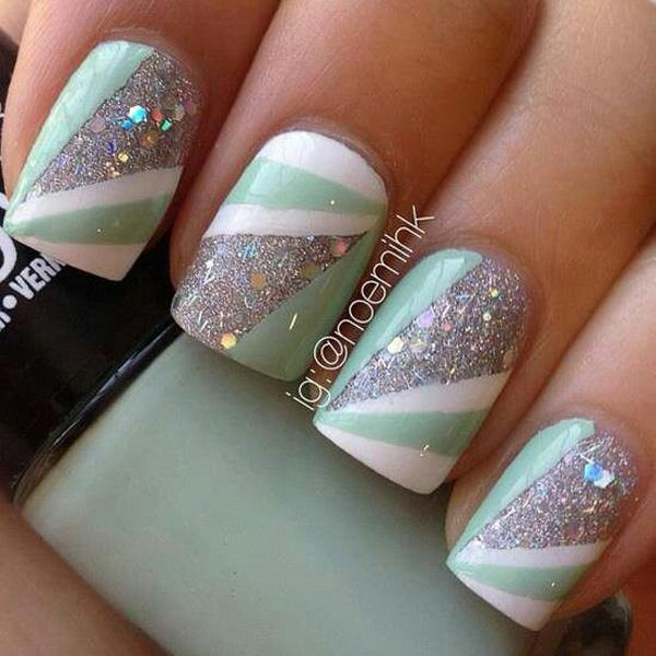 Abstract themed glitter nail art design in silver glitter with white and  light green polish. - 60 Glitter Nail Art Designs Art And Design