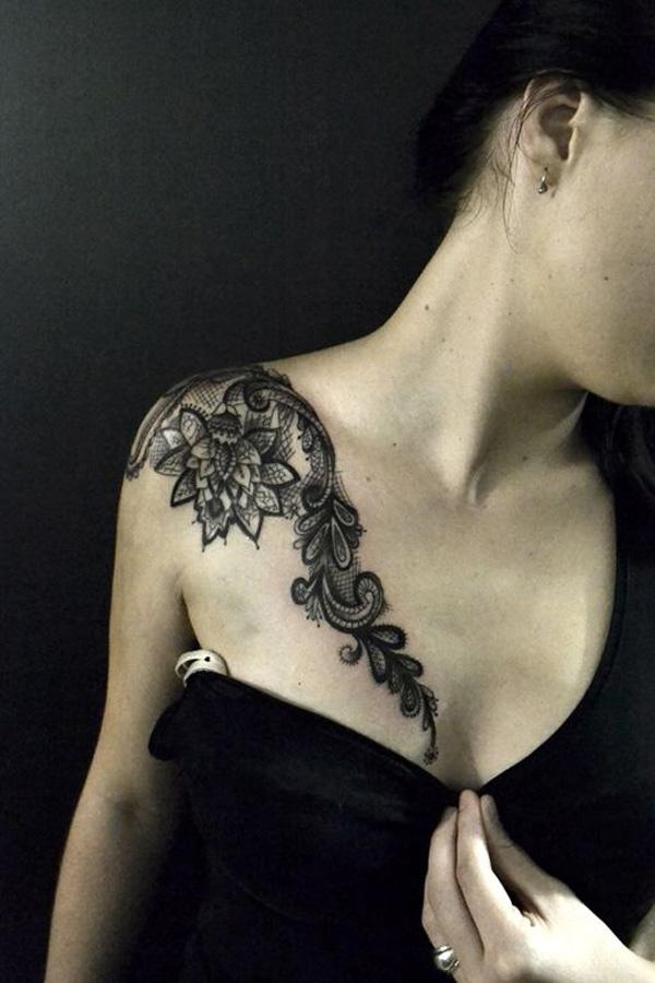 lace clavicle tattoo