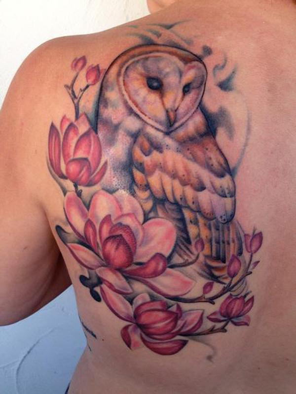 magnolia and owl  tattoo