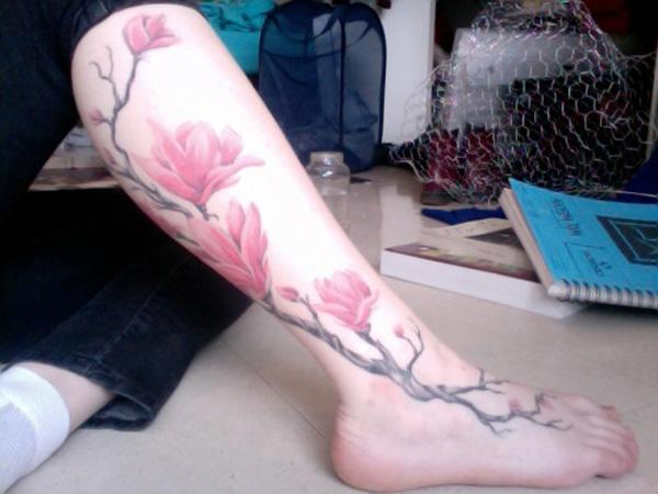magnolia flower lag tattoo