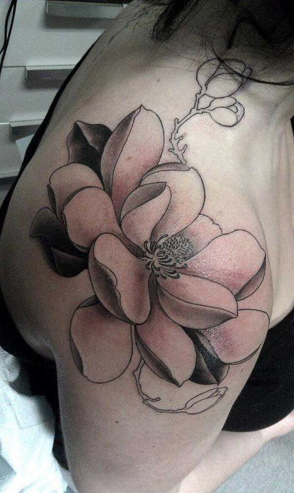 magnolia tattoos black and white