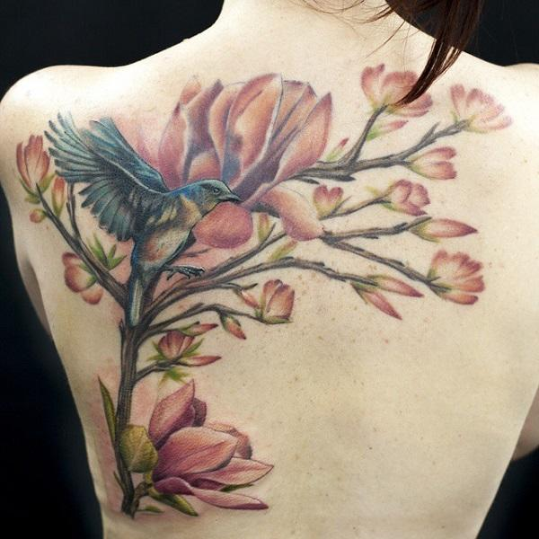 magnolia tree and bird tattoo