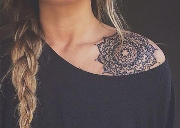 mandala clavicle tattoo for women