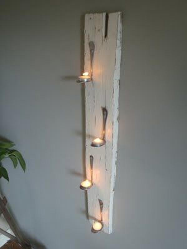 pallet board with Bent Spoons to Hold Tea Lights
