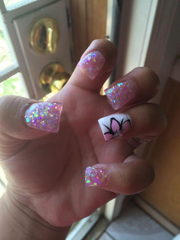 pink glitter nail-4