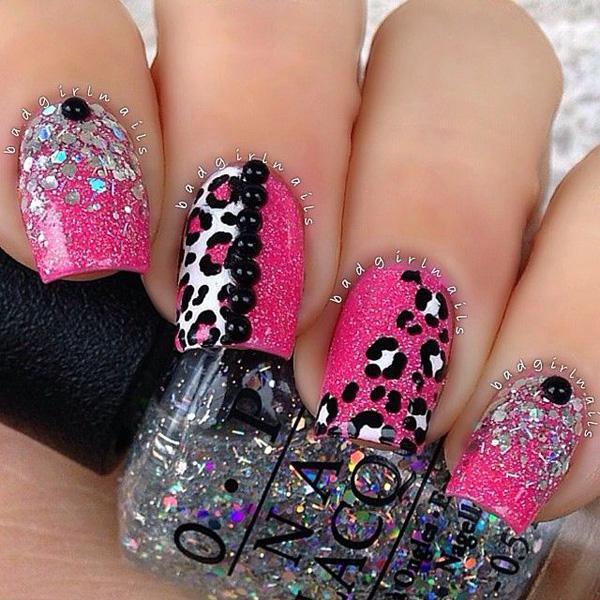 pink leopard glitter nail-38