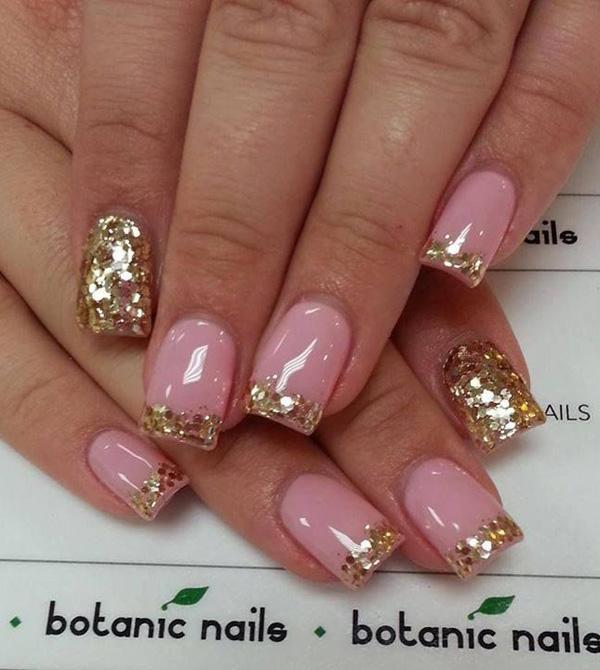 Gold themed glitter nail art design in French tip atop a clear base coat. - 60 Glitter Nail Art Designs Art And Design