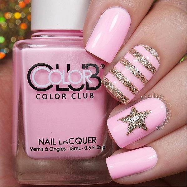 pink with star glitter nail-18