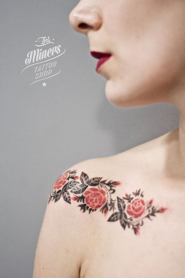 rose tattoo on clavicle for women