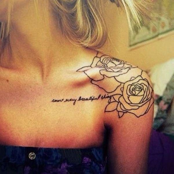 rose whit quotes  clavicle tattoo