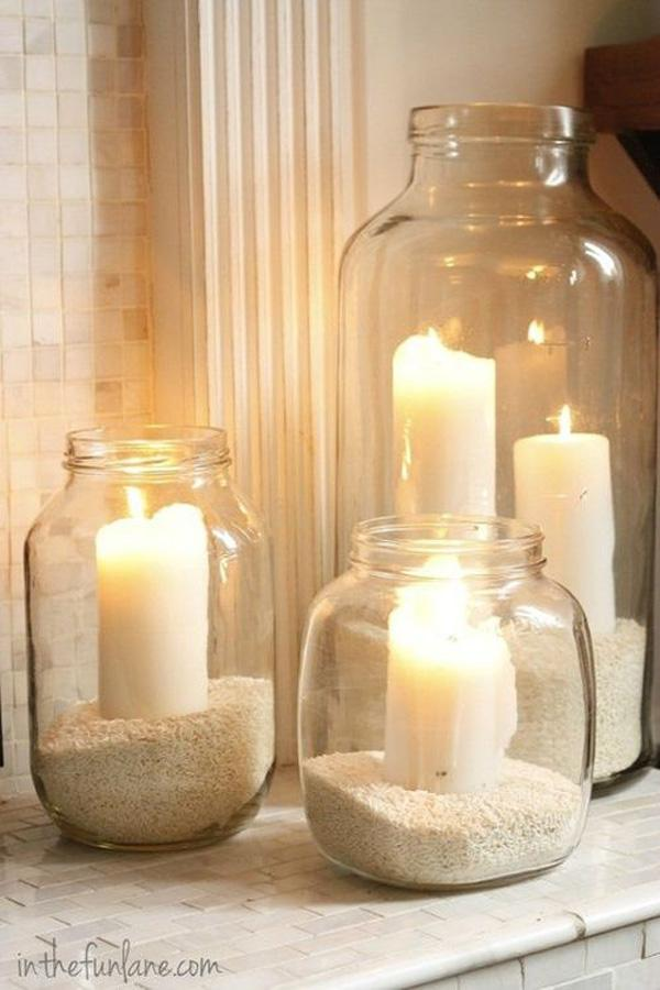 sand + jars + candles
