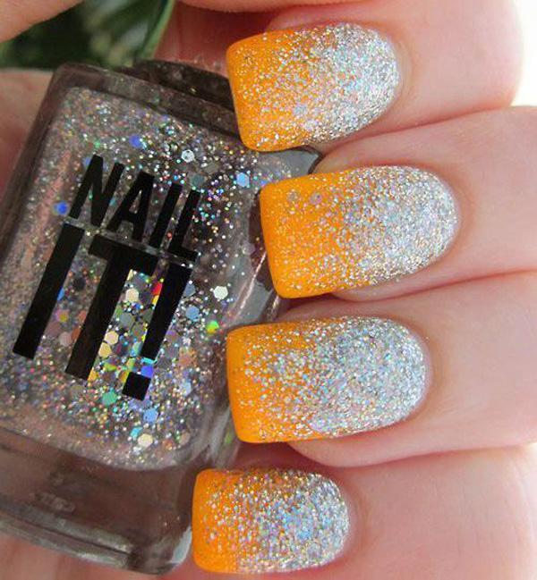 yellow glitter nail-58