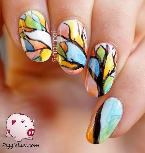 Aquarelle-tree-nail-art-1