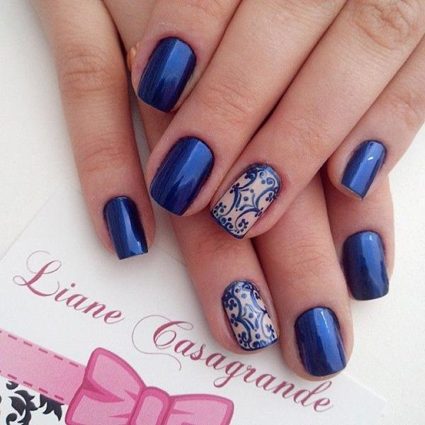Blue and lace nail art-6