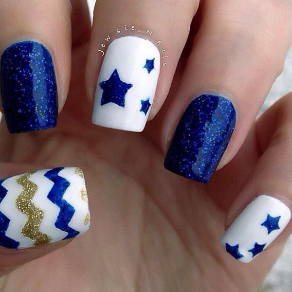 Blue and star nail  art-18