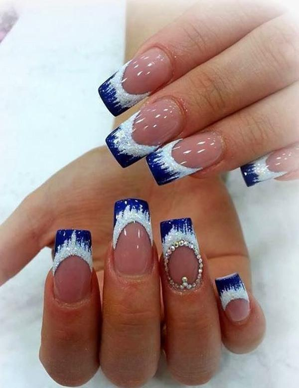 Icy cold blue French tip design. Using clear coat as base color with snow  caps ... - 50 Blue Nail Art Designs Art And Design