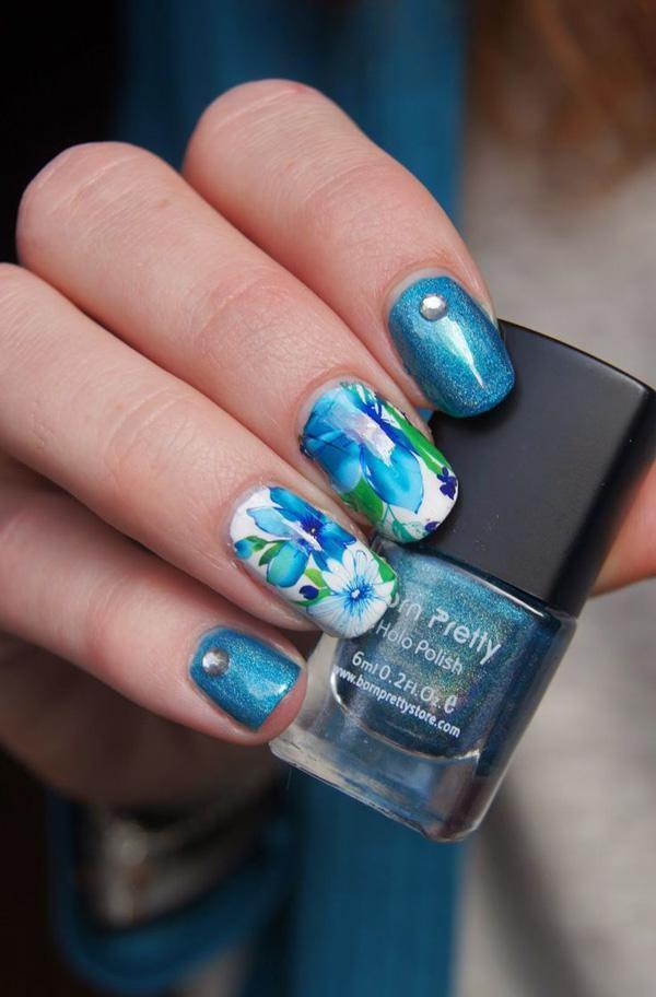 Blue flowet watercolor nail art-6