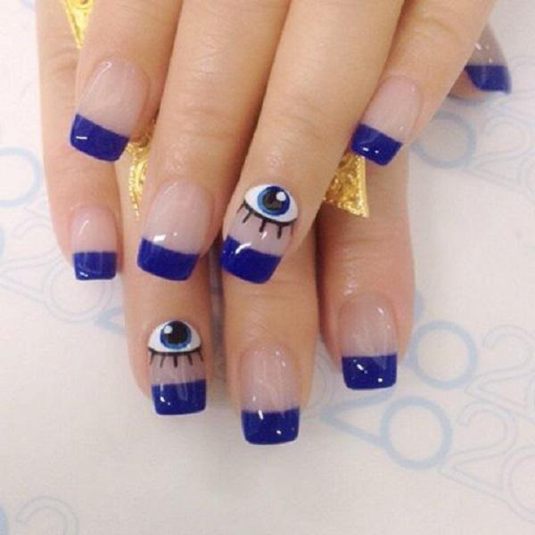 Blue french nail design-20