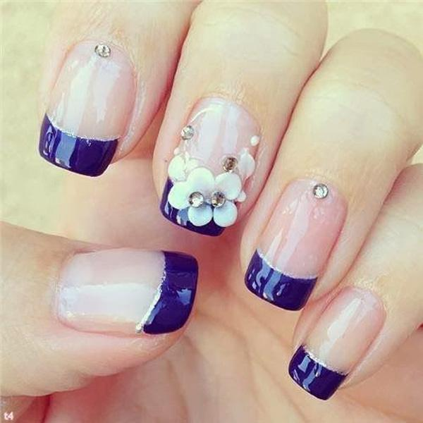 Blue french nail design-29