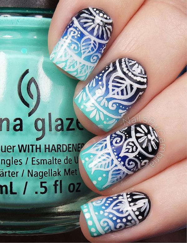 Blue gradient nail art-23