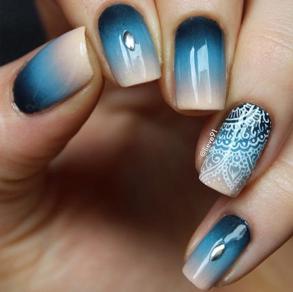 Blue gradient with lace nail art-50