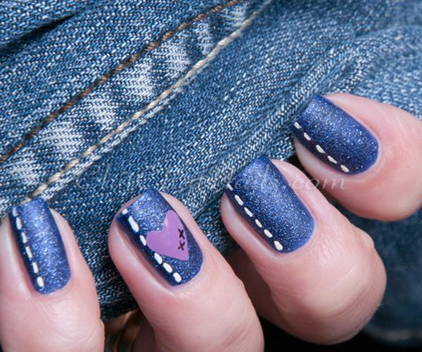 Blue jeans style nail art-48