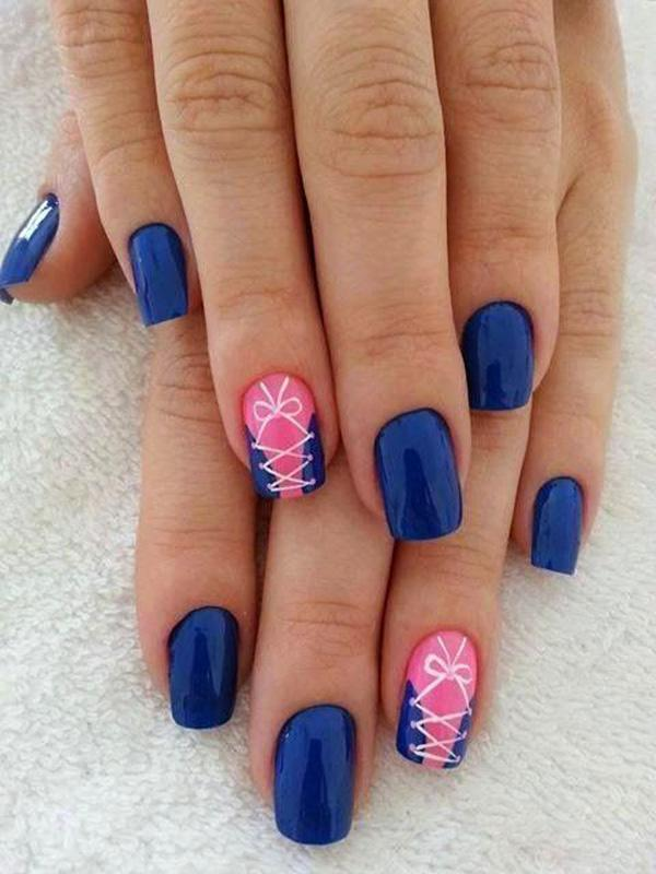 50 blue nail art designs art and design sophisticated blue nail art design midnight blue polish is used as the base color with prinsesfo Gallery