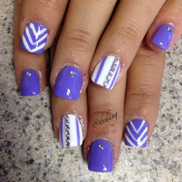50 blue nail art designs art and design blue violet themed nail art design white polish is also used for base color and prinsesfo Gallery