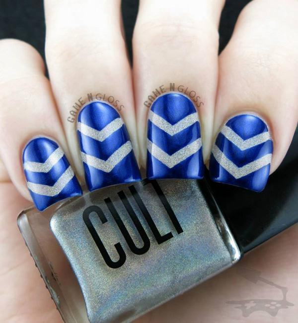Zigzag Themed Blue Metallic Nail Art Stand Out Ish Design That Is