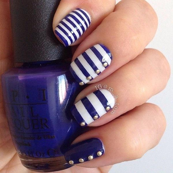 50 blue nail art designs art and design blue striped button themed nail art design dark blue and white polish is used on prinsesfo Choice Image