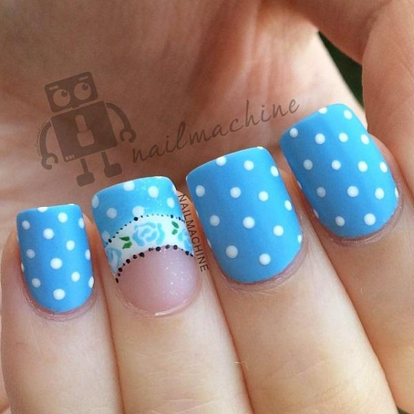 Blue with dots nail art-22