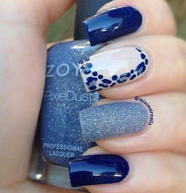 Blue with glitter and leopard nail art-1
