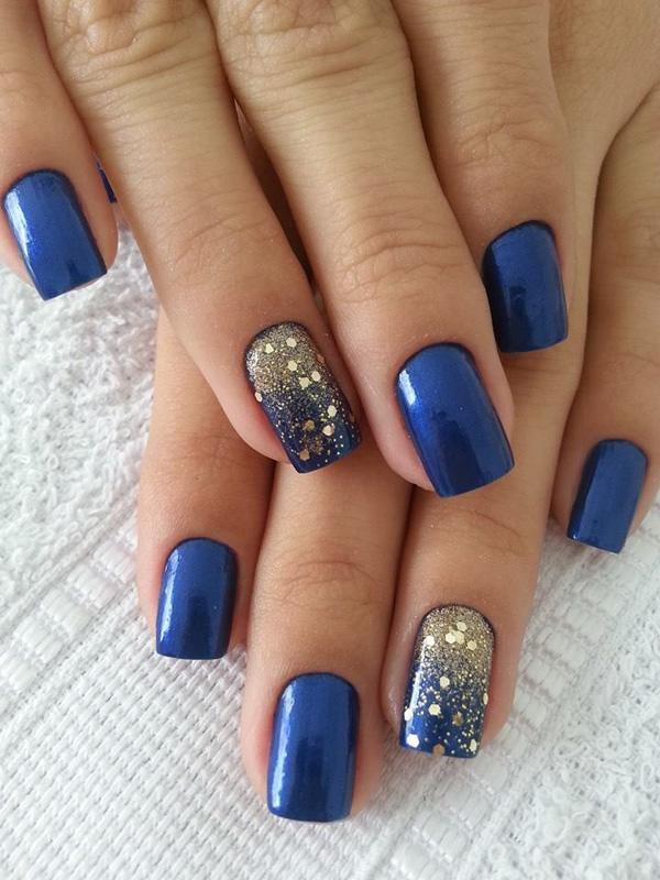 Blue with glitter nail-7